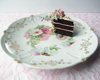 Pink Rose Handled Dessert Plate - Vintage Chic