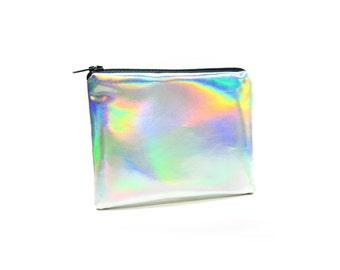 Holographic Change Purse// Handmade Zipper Pouch