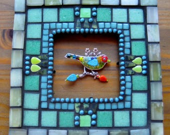 Mosaic Frame. Square Mosaic Frame. Small Mosaic Frame. Shades of the Sea Mosaic Frame. Tranquil Mosaic Frame. Blues Greens. Decorated Frame