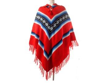 Vintage Poncho - 70s Poncho - Fringed Poncho - Red White Blue Black - Ecuador Poncho - Ethnic Poncho - Red 70s Poncho - Knit Poncho L XL