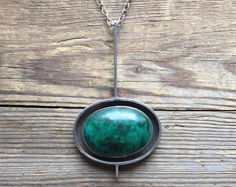 Vintage sixties silver and azurite malachite pendant with chain