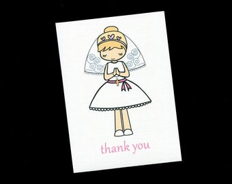 First Communion Thank You Cards - Thank You Cards - Girls Thank You Cards - Communion Girl - Blonde Hair - Set of 20