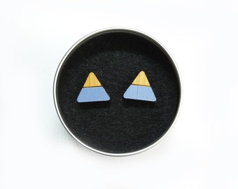 Mountain Earrings, Mountain Jewellery, Triangle Earrings, Mountain Studs, Lilac Mountains