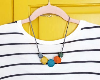 Geometric Necklace, Hexagon Beads, Wooden Necklace, Mid Century Modern Colours, Teething Necklaces, Mustard and Grey