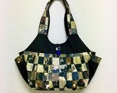 Fabric Shoulder Bag / Fabric Granny Bag / Cat Print bag --- Kimono Cat - Brown