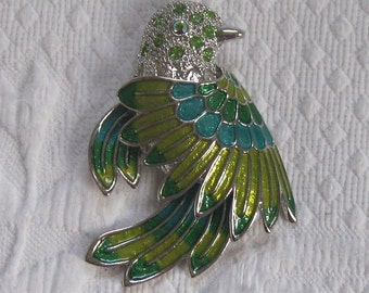 bird brooch . enamel bird brooch . enamel brooch with rhinestones . bird of paradise brooch . green bird pin