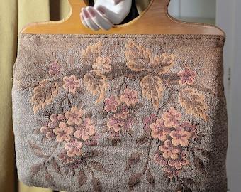 Vintage mid century 50's 60's carpet bag, boho tapestry bag, knitting bag, needlepoint, wooden handle, wood handle purse, floral tapestry