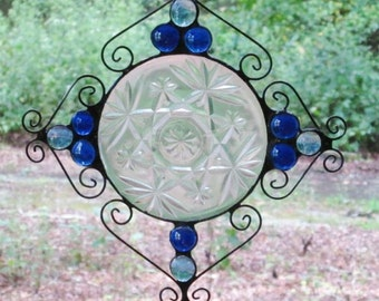 Stained Glass Suncatcher - Vintage Clear Plate, Blue Nuggets, and Wire