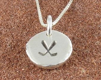 Hockey Sticks Pendant Organic Rustic Recycled Sterling Silver Hockey Sticks Jewelry