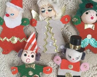 Japan Vintage Christmas Characters Original Set of 5 Felt
