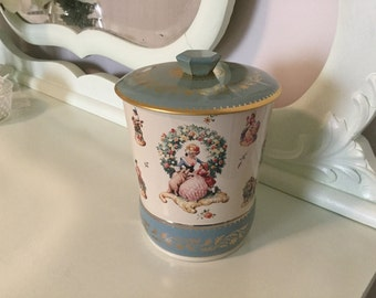 Tin Litho Metal Candy Box Shabby Cottage Style Blue Floral Vintage