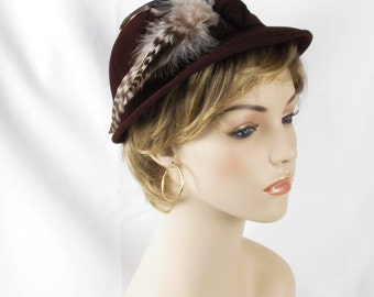 Vintage 1950s Hat Brown Felt Feathered Derby Style