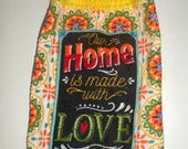 Hanging Towel, Our Home, Made With Love, Crochet Top Towel, Yellow Orange Black Towel, Family Towel, Dish Towel, Hand Towel, Kitchen Towel