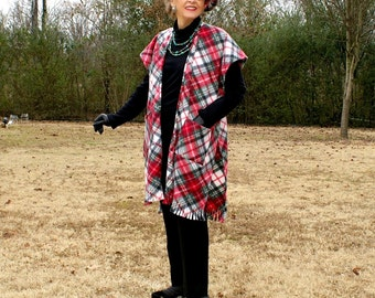 Long Vest, Wrap, Kimono, Serape, Vest or Shrug with Pockets and Fringe and Matching Tam or Beret in Plaid Fleece--One Size