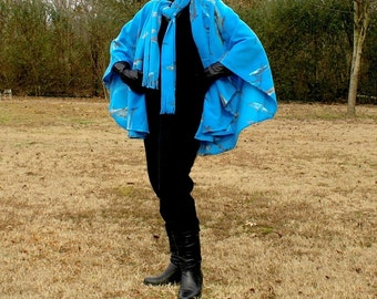 On Sale--Blue Aquatic Design Fleece Shawl, Wrap, Serape or Poncho with Neck Scarf--One Size Fits Many