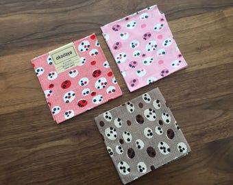 SET of 3 Pieces Japanese Import Cotton Fabric - 19 Inch x 13 Inch ( 50 cm x 35 cm)  EACH