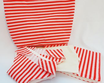 Doll Diaper Set - Red and White Stripe