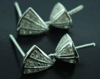 Earring Findings, Earring Posts,Sterling Silver Earrings Findings,Fancy Earrings-CZ,Triangle Shape, Bridal Earrings (1 pair) SKU:203063