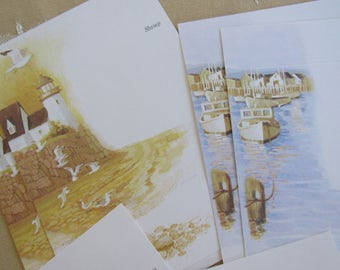 6 Vintage BEACH FRONT Seal n' Send Folders Postcard 4 Styles Nature Ocean Birds Nautical Cape Cod Lighthouse East Coast C. Sanderson Artwork