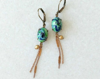 Blue and green earrings with chains - Apple Green Earrings - Tassel Earrings - Green and Gold - Fawcet Earrings (SD1132)