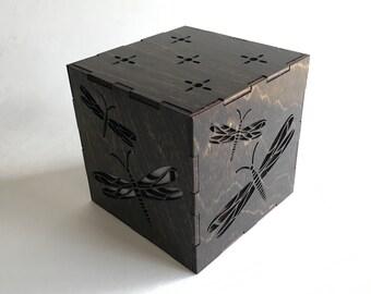 Dragonfly Candle Box, LED Candle, Dragonfly Lantern, Candle Votive, Wood Lantern, Tea Light, Light Box, Home Decor, Wood Nightlight, Gift
