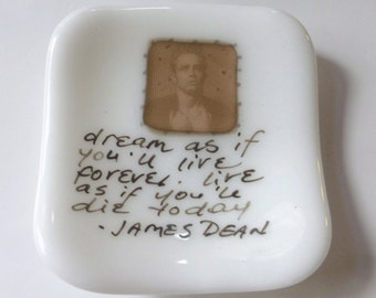 Small fused glass plate with James Dean quote