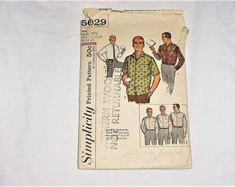 Vintage 60s Simplicity Mens Shirt Pattern M Long Short Sleeve Cut Complete