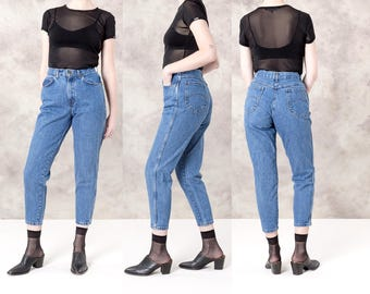 HIGH WAIST JEANS Chic vintage women Skinny Mom 90s denim pants tapered curvy / Size 9 / waist 28 29 / better Stay together