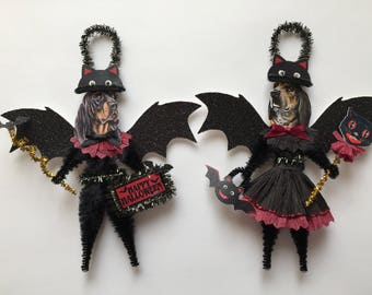 Coonhound BAT Halloween ornaments DOG ornaments vintage style chenille ORNAMENTS set of 2