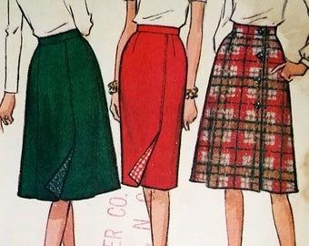 Vintage 1960s Gored Wrap Look Skirt Pattern McCall's 7469 Waist 26 Hip 36 Factory Folded Slim Skirt Flared Skirt Variations