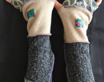 Fingerless Gloves Arm Warmers Wrist Warmers  Recycle Sweater Art Hand Painted Applique Sewn Patchwork Striped Wrist Covers