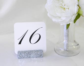Silver Wedding Table Card Holder + Silver glitter table card holder