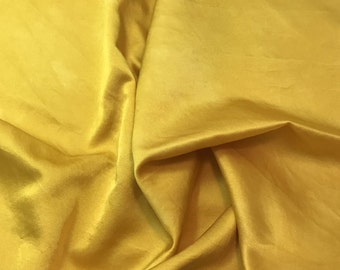 Hand Dyed Honey Mustard Yellow - Silk and Cotton Blend SATIN Fabric - 1 Yard