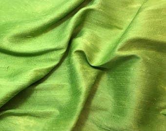 Hand Dyed APPLE GREEN Silk DUPIONI Fabric - fat 1/4