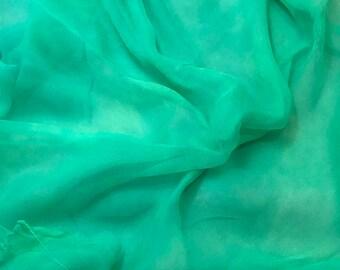 Silk Gauze Chiffon - Hand Dyed Spearmint Green - 1 Yard