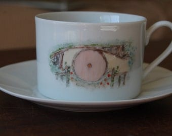 Hobbit Hole Teacup and Saucer--Pink Door