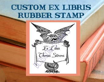 Ex Libris Bookplate Rubber Stamp with Dragon, Maple Mounted - Custom Handmade by Blossom Stamps