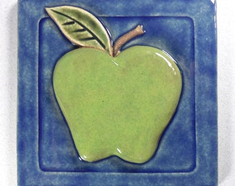 Apple Tile ~ 4 x 4 inch ~ Granny Smith ~ Ceramic Stoneware ~ Accent Tile ~ Lime Green ~ Blue