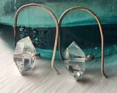 Sterling Silver Earrings / Herkimer Diamonds / Crystal Earrings / Dangle Earrings / DanielleRoseBean / minimalist jewelry