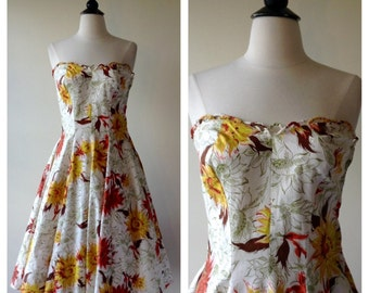 50s  floral dress | 1950s strapless dress | great pretender dress