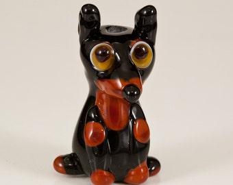 Doberman Lampwork Dog Bead