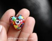 Spring Initial Heart Pendant Necklace - Sugarflowers & Rainbow Pearl Sprinkles
