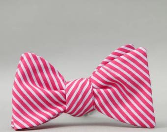magenta stripe  // self tie bow tie // hot pink bow tie  //  father son bow tie matching set
