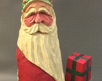 HAND CARVED original Santa with presents from 100 year old Cottonwood Bark.