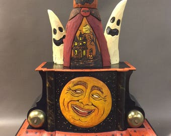 "HAND CARVED original large Halloween ""clock"" vignette."