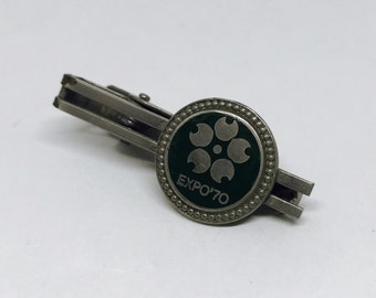 Vintage Men's Tie Bar, Tie Clip, 1970 Japan World Expo Exposition Fair, Gun Metal and Enamel 1 1/2 inches