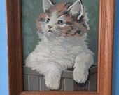Vintage 60s Paint by numbers Cat kitty painting