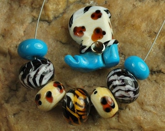 Glass Lampwork Beads, Cowboy Booy, Western Tiger Stripes, Black & White, Southwestern, Handmade SRA #306 by CC Design