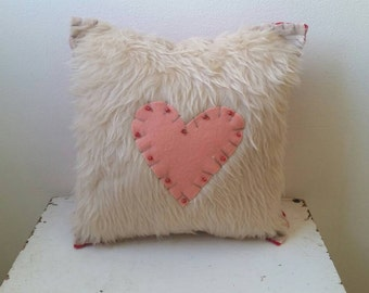 Coral Heart + Cozy = Love Pillow