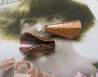 Hammered Copper Ox Plated Brass Bead Caps 527COP x2